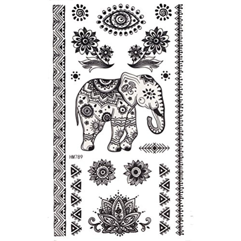 Black king tattoo ideas king horse henna elephant sticker body art temporary tattoo sticker