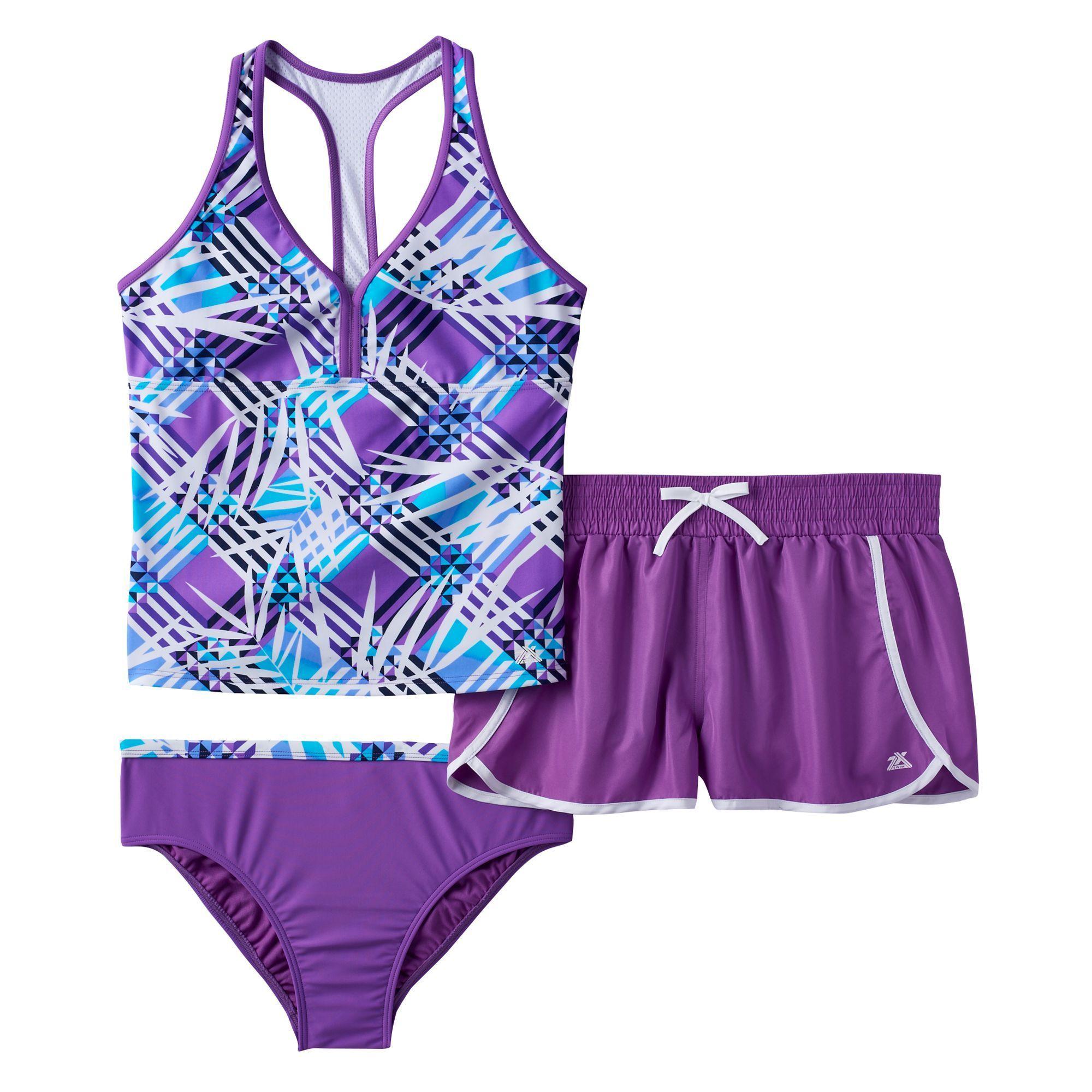 f204cf187d Girls Plus Size ZeroXposur Mesh Racerback Tankini Top, Bottoms & Dolphin  Shorts Swimsuit Set, Size: 16 1/2, Lt Purple
