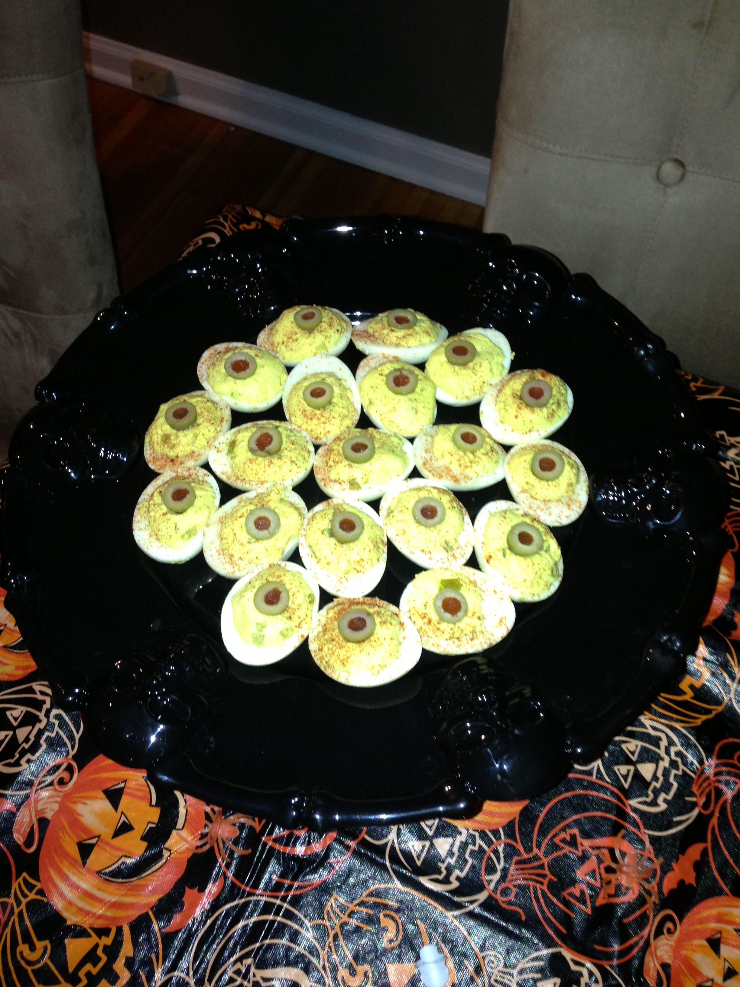 Deviled Egg Eyeballs Deviled eggs, Food, Pinterest party