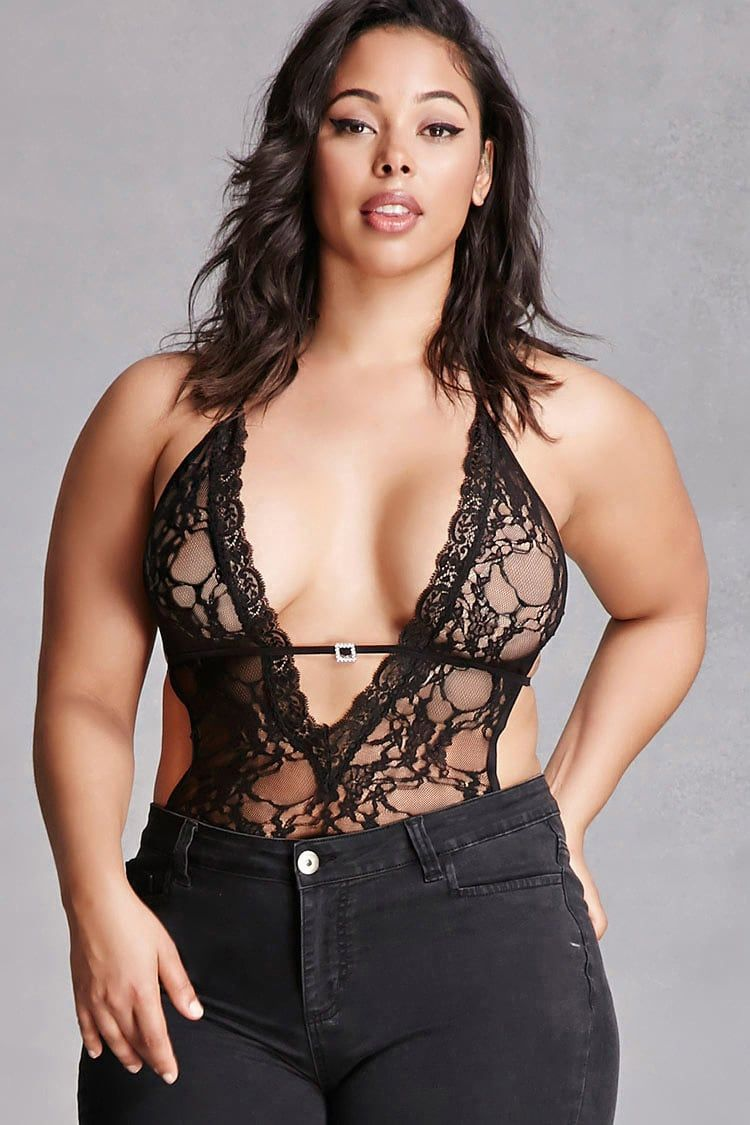 Forever 21+ - A sheer stretch-lace bodysuit featuring a halter neck with a  plunging front 99c786e42