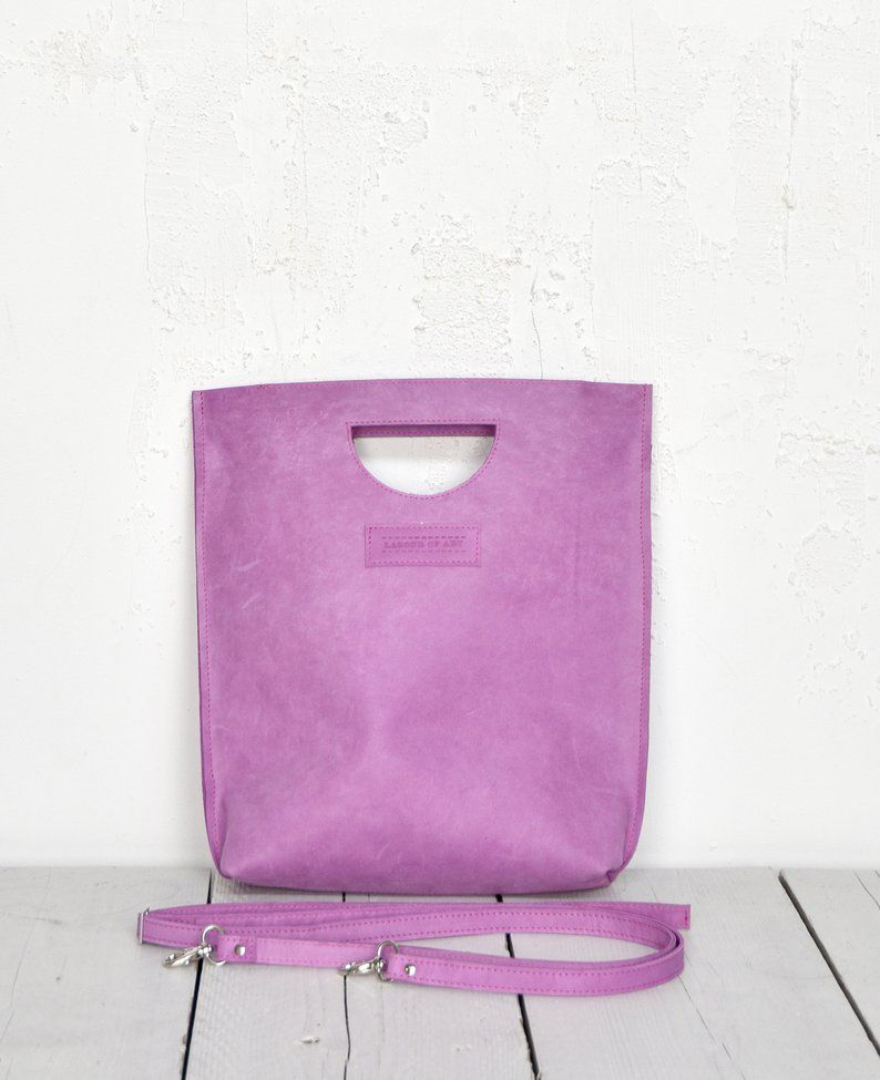 cf9034c17bb Purple Smile Bag, Sweet Lilac Leather Shopper with integrated Handle ...