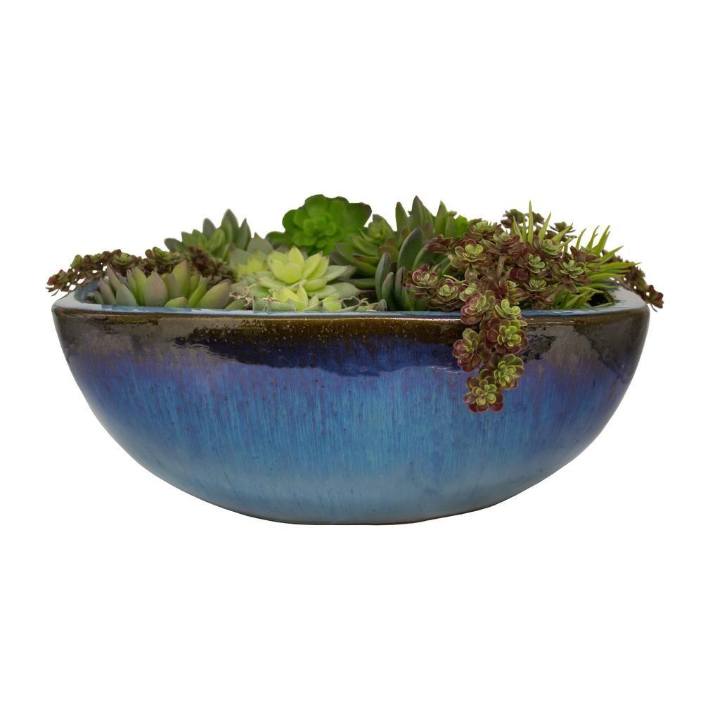 Trendspot 16 In Lagos Blue Ceramic Bowl Planter Cr70027n 160p The Home Depot Ceramic Bowls Blue Ceramics Planters