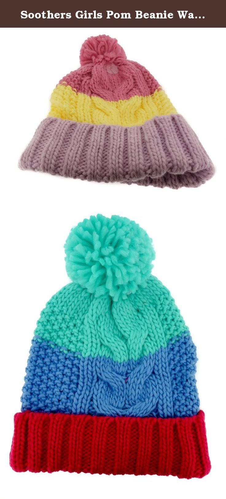 0fd223259b7 Soothers Girls Pom Beanie Warm Ribbed Knit Hat - Red Green. Vibrant colors  with the power of the Pom Pom!