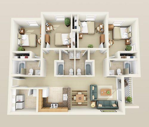 tiny four bedroom homes - Google Search House plans Pinterest - Logiciel De Plan De Maison 3d Gratuit