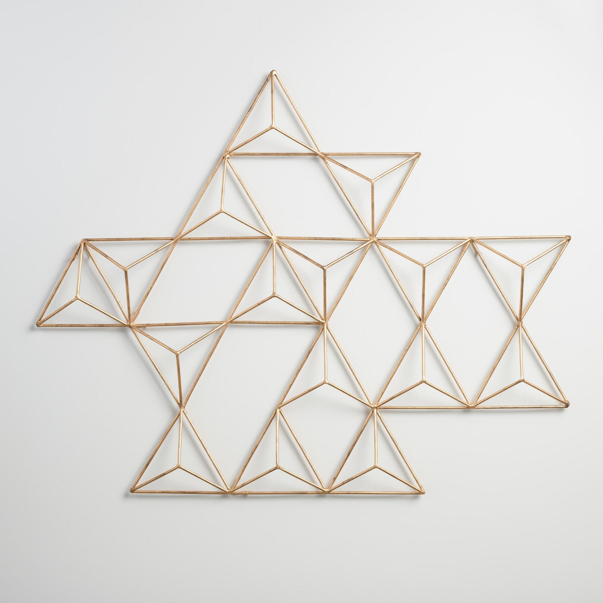 Diy 80 World Market Wall Art For About 15 Using Wood Dowels And Gold Spray Paint Geometric Wall Art Triangle Wall Unique Picture Frames