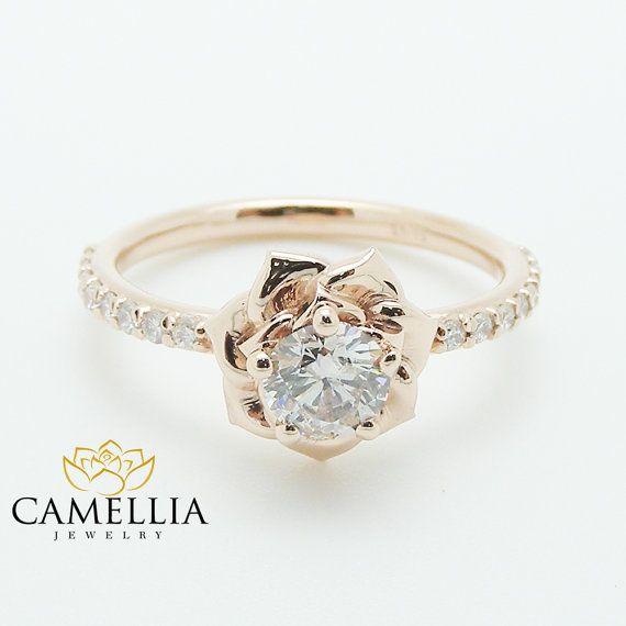 Préférence Flower Rose Unique Engagement Ring Right Hand Diamond Ring 14K  DP59