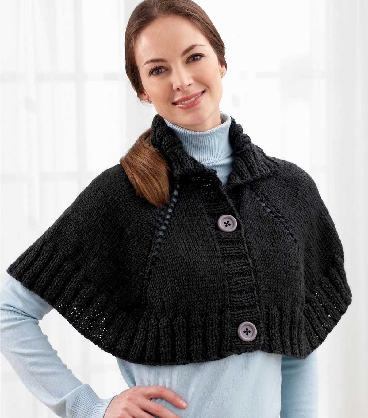 Top Down Button Front Capelet - Free Knitted Pattern - (joann ...