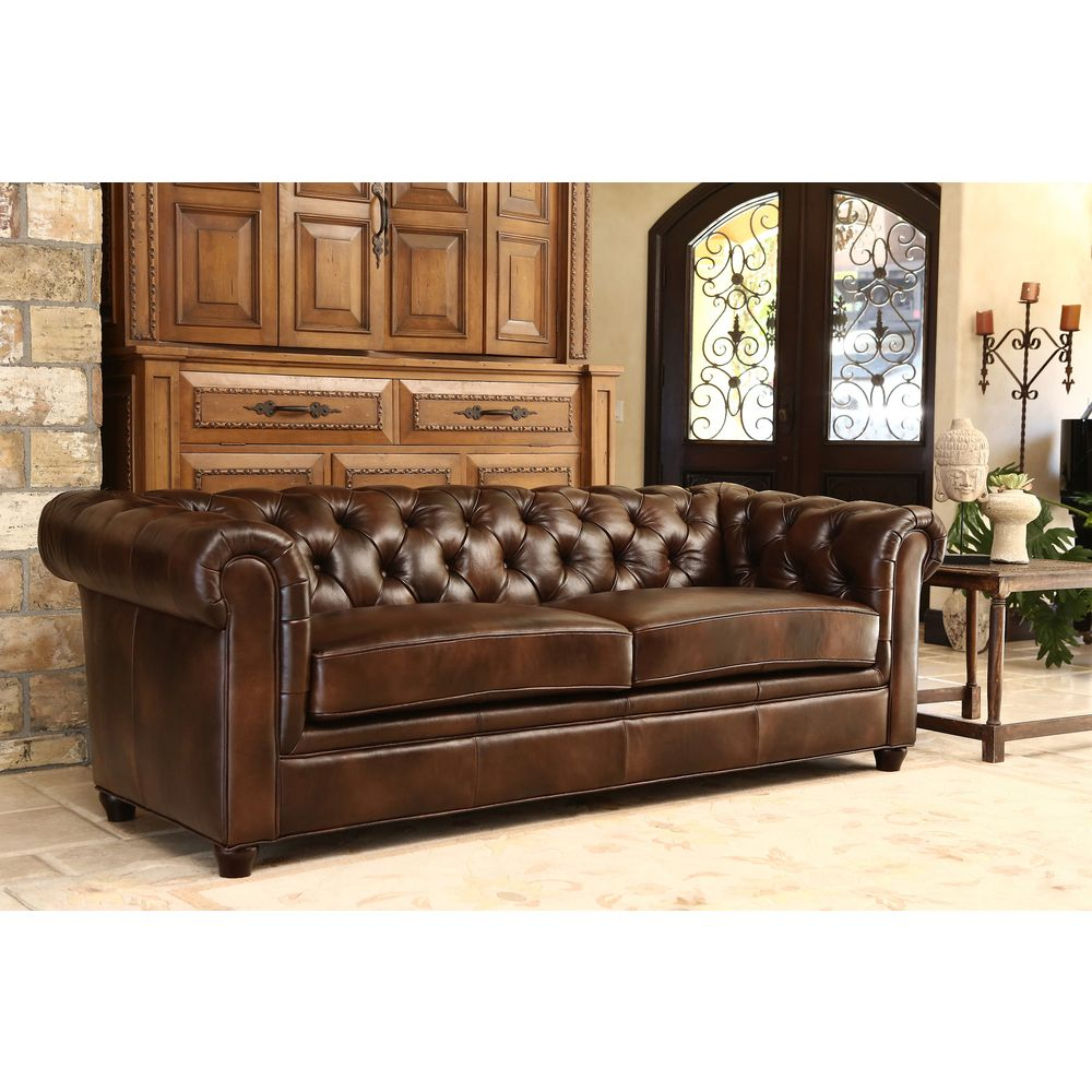 Abbyson Living Tuscan Premium Italian Leather Sofa And