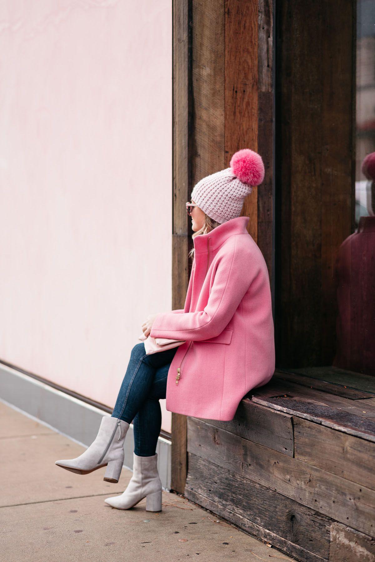 ae6bd1374c7cb Jessica Sturdy wearing a Kyi Kyi pink pom pom hat