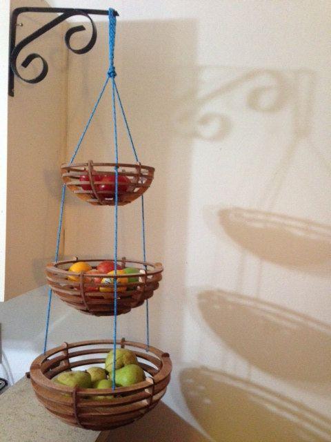 Custom Wooden Three Tiered Hanging Fruit Basket Decorar Cozinha