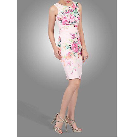 Buy Jolie Moi Floral Printed Ruched Shift Dress, Light Pink Online at johnlewis.com