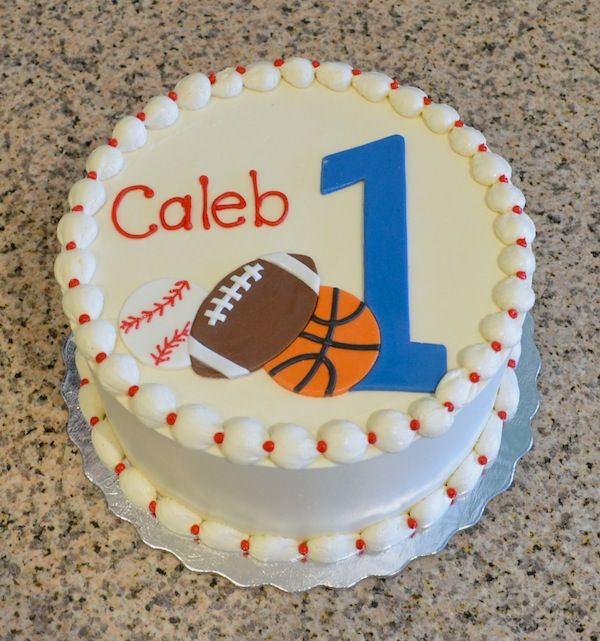 Boys sports themed first birthday cake Sugarland Raleigh and