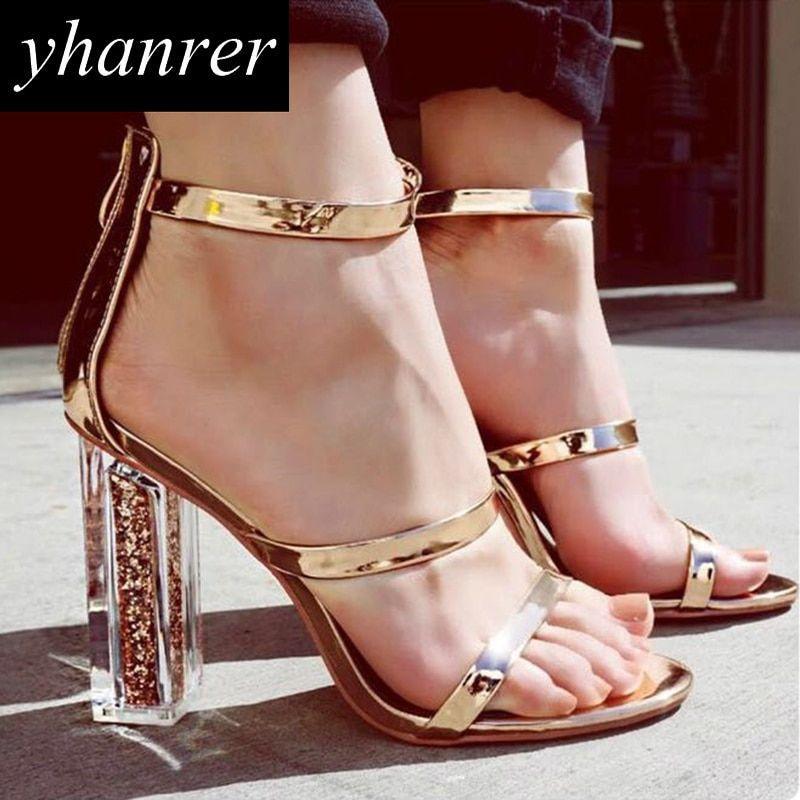 f1f34d765 Newest Women Transparent Sandals Square Heel Pumps Roman Gladiator High  Heels Summer Bling Stilettos ladies Shoes K494 Price: 39.54 & FREE Shipping  #dress