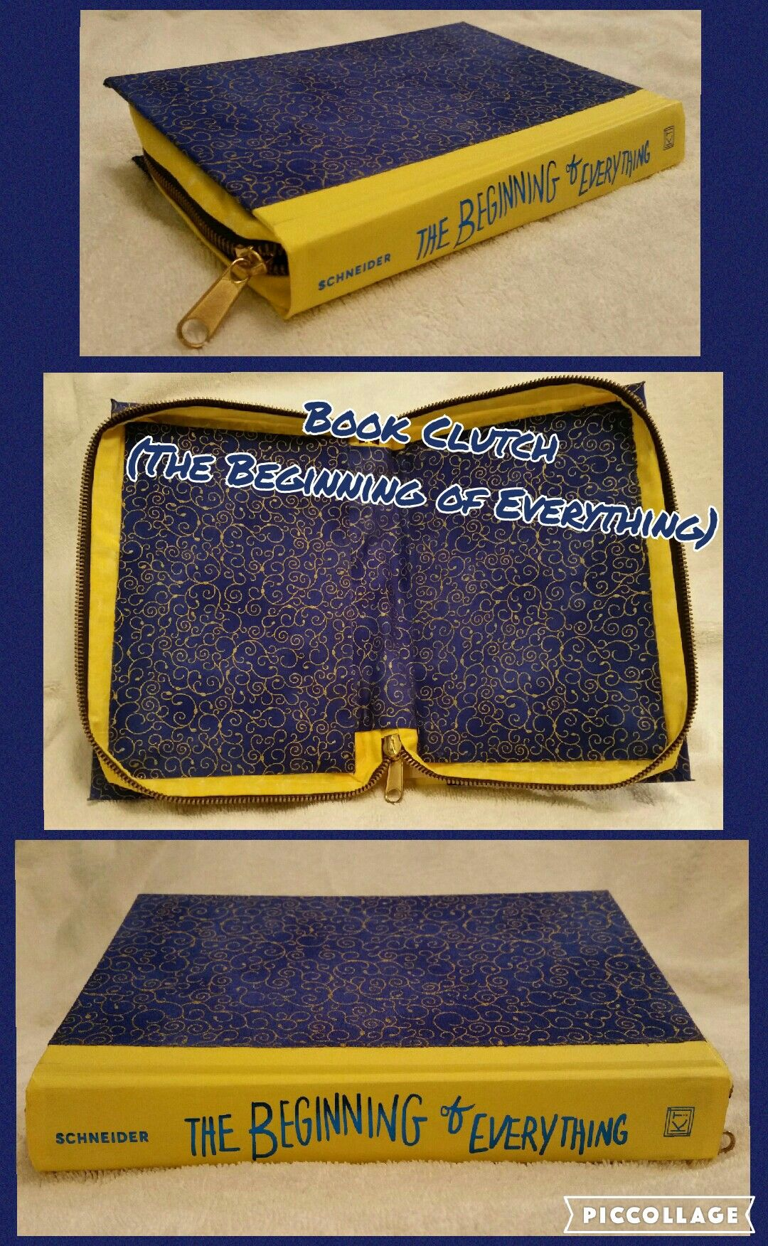 Book Clutch Handmade (Titled: The Beginning of Everything) Yellow Spine, Blue with Gold Spiral Pattern on the Cover, Zips Closed.