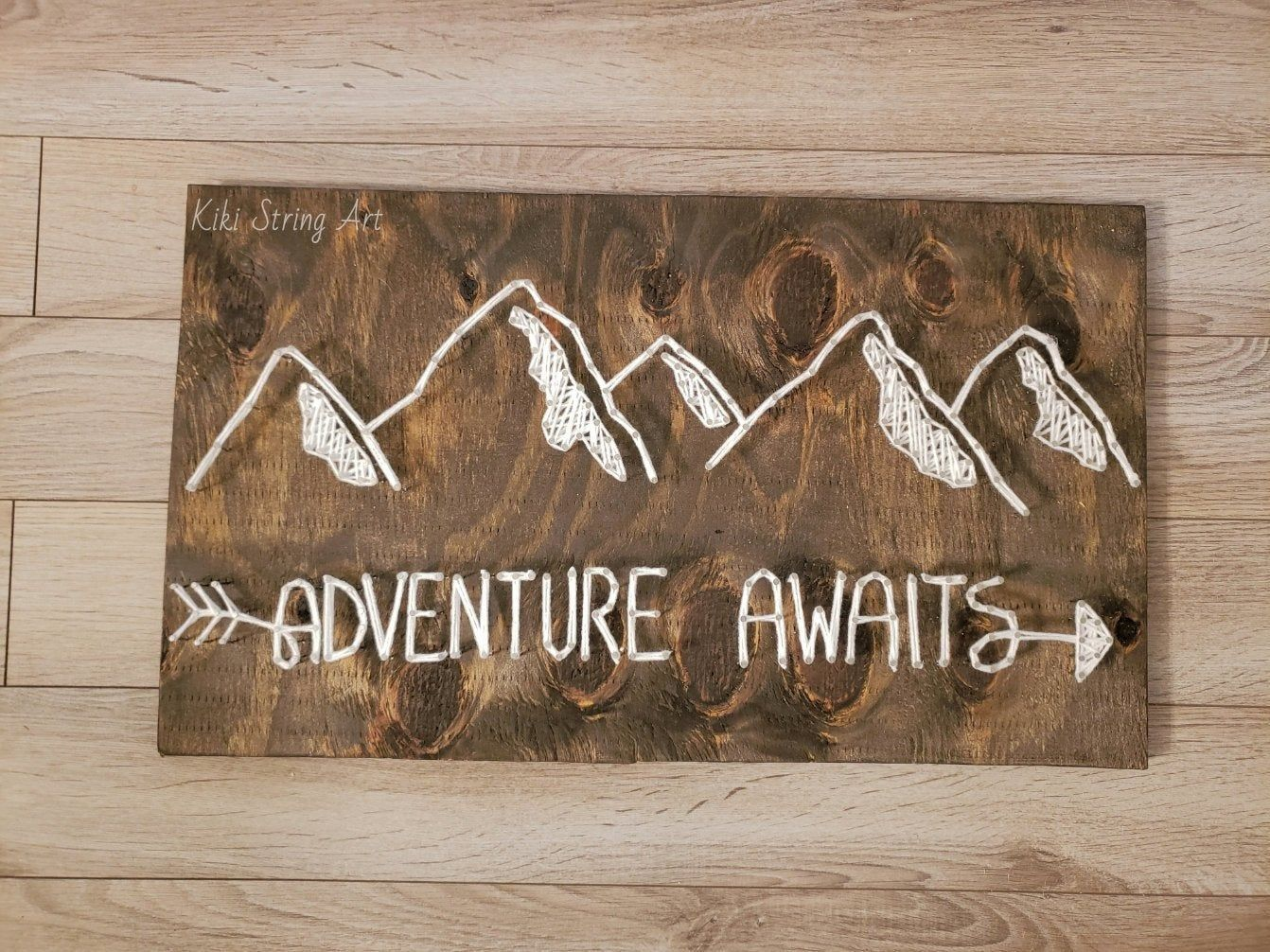 Adventure awaits string art sign, mountain string art, mountain wall decor, mountain wall art, mountain wood sign, unique gift, cabin decor
