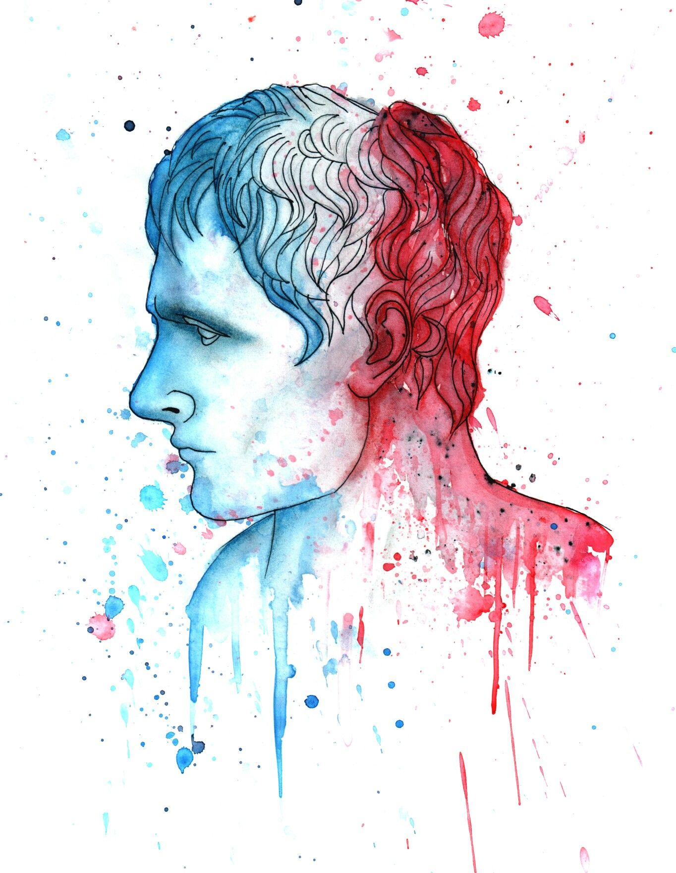 A quick watercolor portrait of the bust of Napoleon by Canova