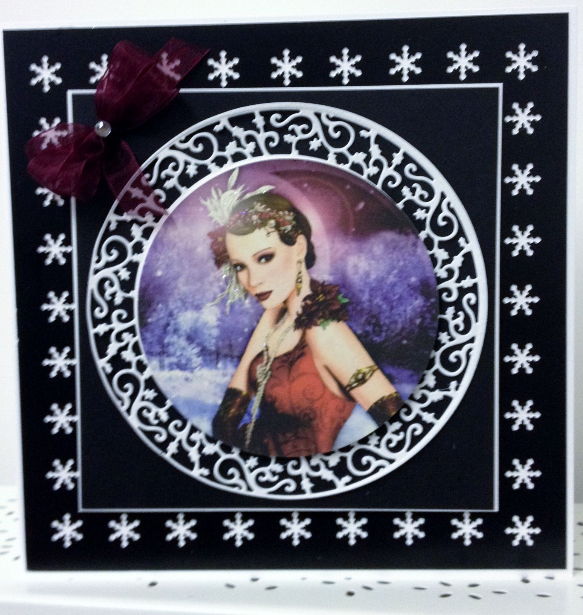 Another card using Tonic Verso dies and Tonic snowflake punch, topper by Debbie moore