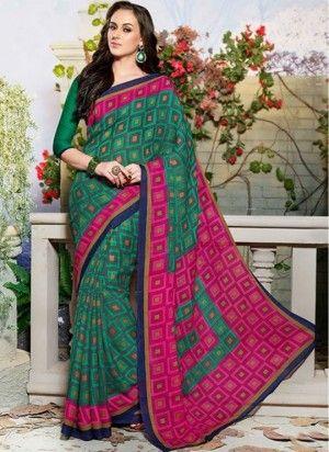 Angelic geometric print art silk fancy saree