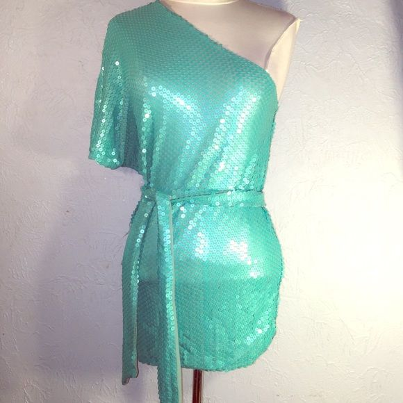 size Small over the shoulder porcelain green shirt It's glittery, brand new with tag, over the shoulder great for St. Patty's day Arden B Tops Blouses