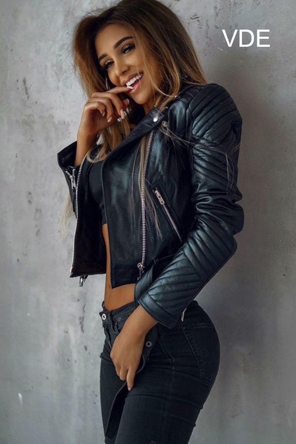 Leather Biker Jacket Outfit With Black Jeans Fashion Leather Jacket Girl Women [ 1500 x 1000 Pixel ]