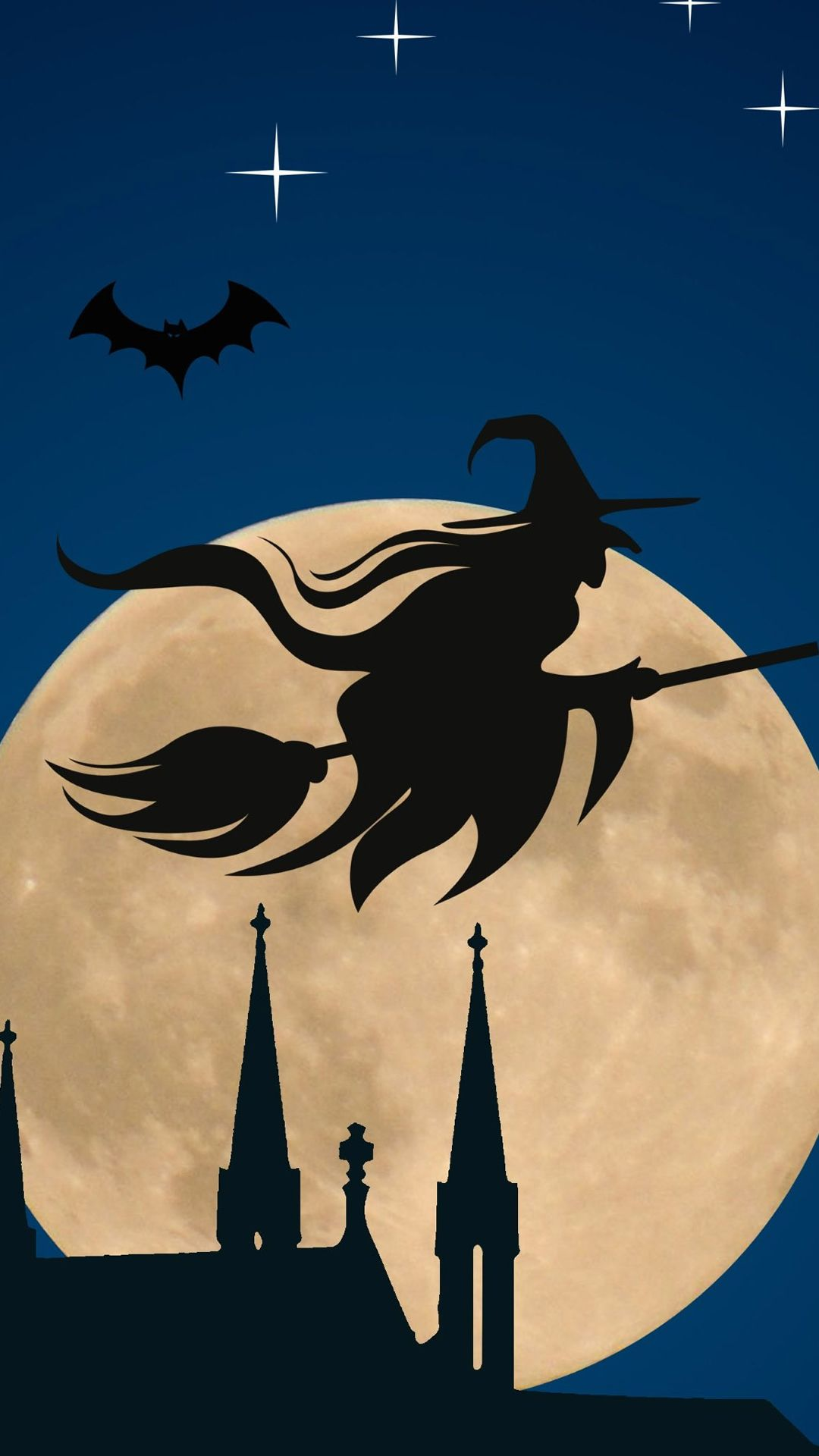 """Halloween Witch Flying Broom Over Moon"" iPhone 6 wallpaper. """
