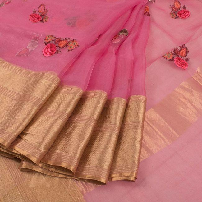 c84b9de079 Buy online Applique Work Embroidered Pink Organza Fancy Saree With Floral  Motifs & Zari Border 10015249