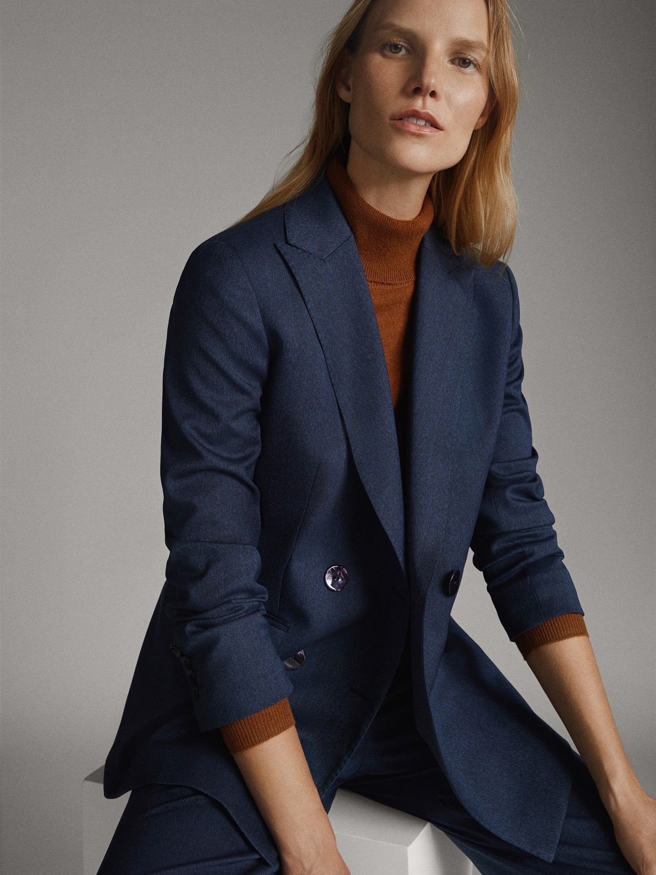 Massimo Dutti Mujer Americana Denim Lana Marino Azul Marino 38 Blue Blazer Women Navy Blue Blazer Women Blue Blazer Outfit