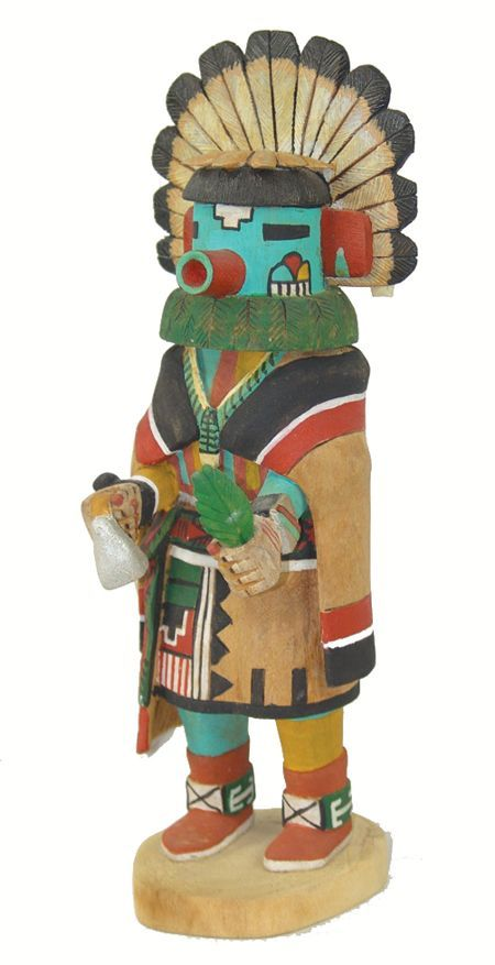 Beautiful, brilliantly colored Morning Singer Kachina, the first #kachina to come out during the Winter Solstice Dances.