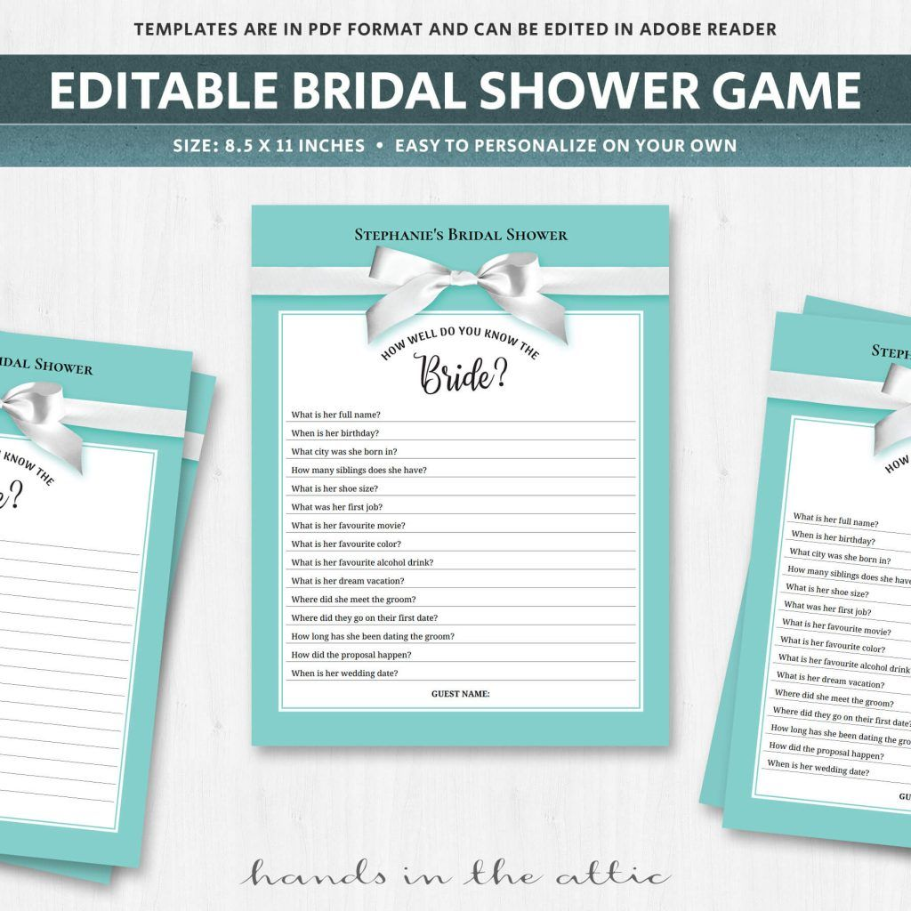 Unique Bridal Shower Games Quiz Turquoise Aqua