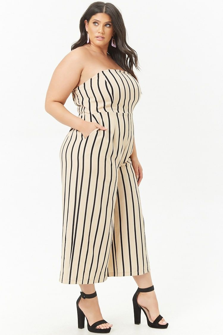 258bf15cb620 Product Name Plus Size Striped Strapless Wide-Leg Jumpsuit