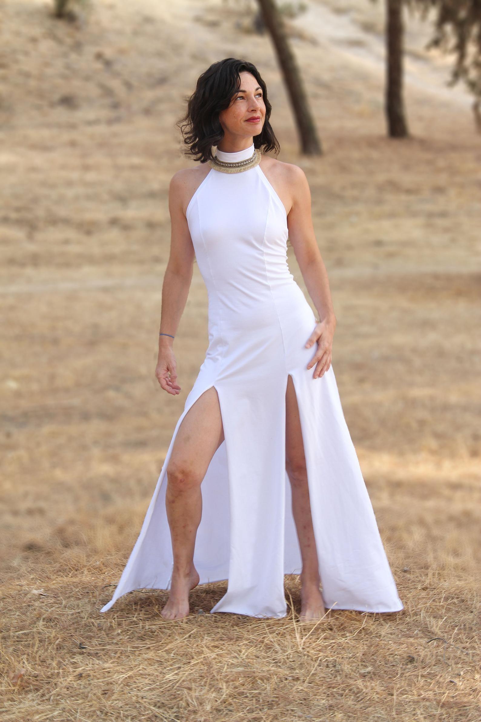 Oshin Boho Kleid. Hochzeit Maxi-Kleid. Weißes langes Kleid. Boho