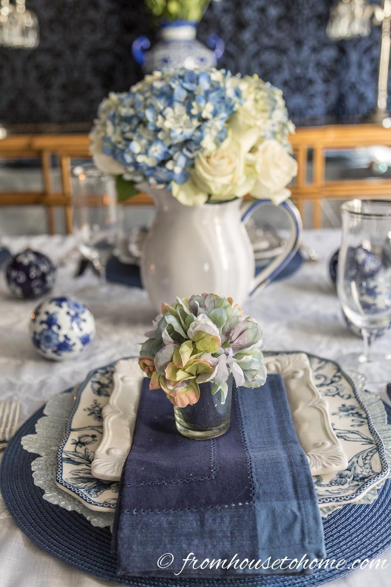 Hydrangea Inspired Blue And White Table Setting Entertaining Diva From House To Home White Table Settings Spring Table Settings Spring Table