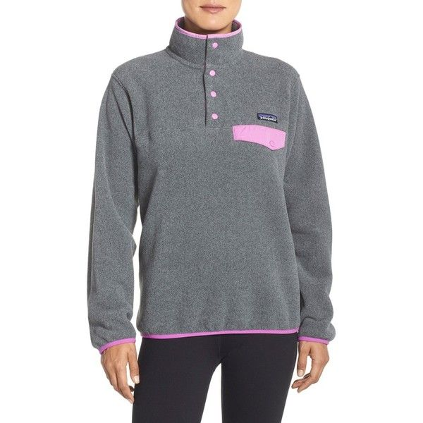 Patagonia 'Synchilla' Fleece Pullover (150 NZD) ❤ liked on Polyvore featuring tops, sweaters, fleece sweater, grey top, swim sweater, patagonia and patagonia sweater