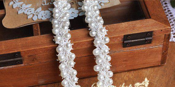pearl beaded trim, bridal sash, Bridal Belt, beaded jewelry Trim, Pearl Beading trim