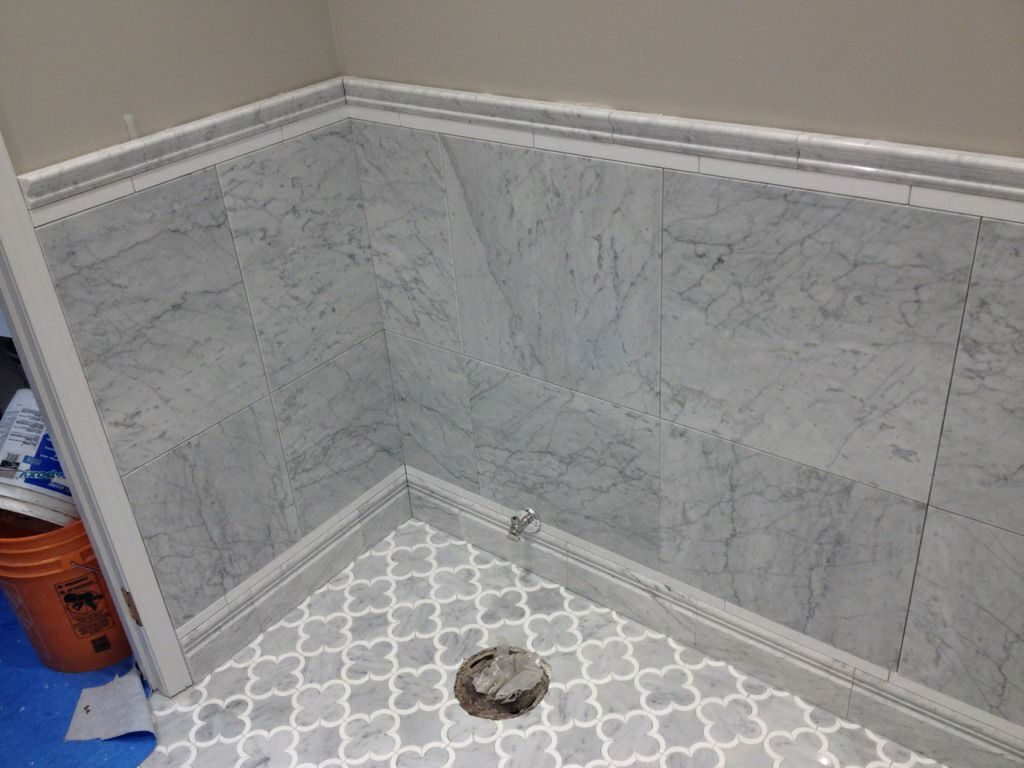 Edmonton Tile Install White Marble Bathroom Carrara
