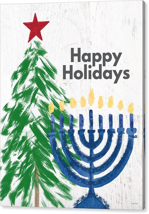 Happy Holidays Tree And Menorah Art By Linda Woods Canvas Print Canvas Art By Linda Woods In 2020 Holiday Canvas Christmas Wall Art Holiday Tree