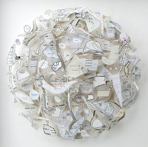 White Circle (Maidenhead Thicket) 2011. Collage construction with map pieces; 34 x 34 x 3 inches. By Chris Kenney.