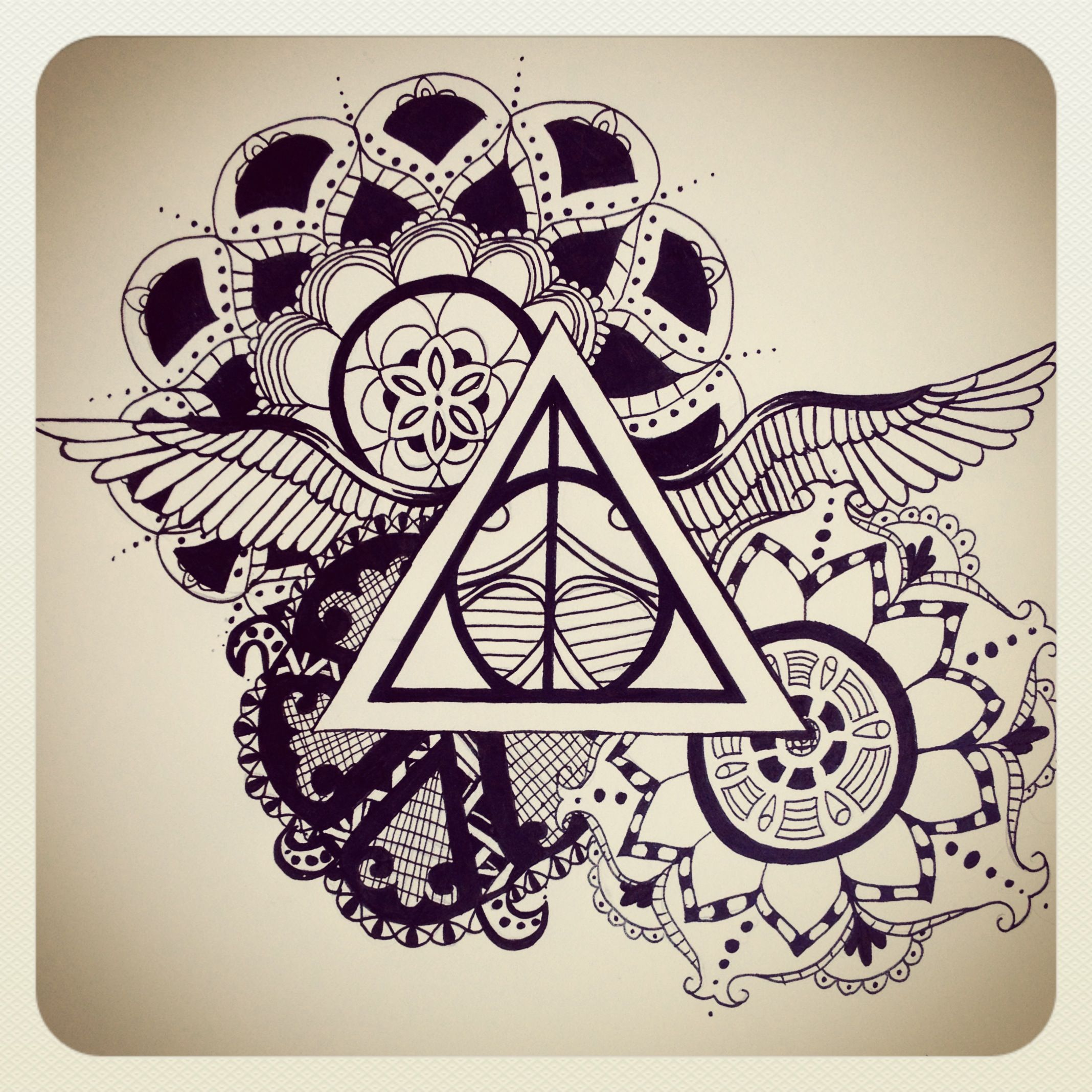 Harry Potter deathly hallows art by Emily Henry. -tattoo ...