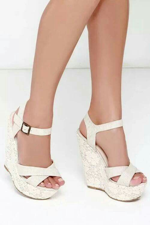 I love white shoes!!! | giầy , giầy cao gót | Pinterest | Wedges ...