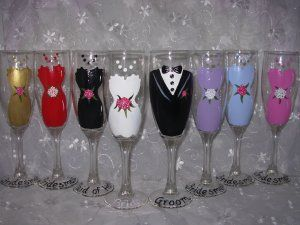 hand painted wine glasses ideas | ... Party Wine Glasses on Bridal ...