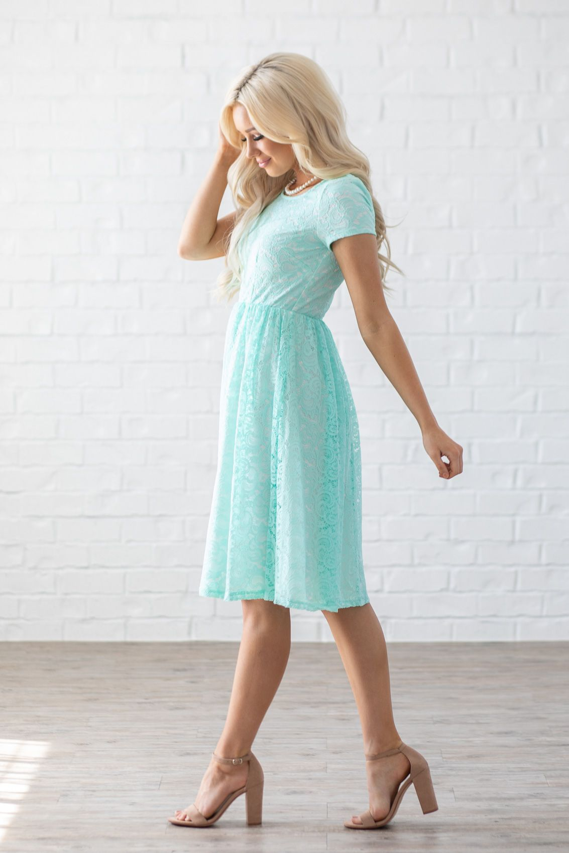 4a4ae17bcc4 Jenna Modest Lace Dress or Bridesmaid Dress in Mint w White Lining  64.99