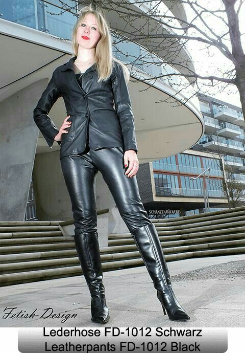 amateur blonde fetish model in black leather pants jacket and boots leather pinterest. Black Bedroom Furniture Sets. Home Design Ideas