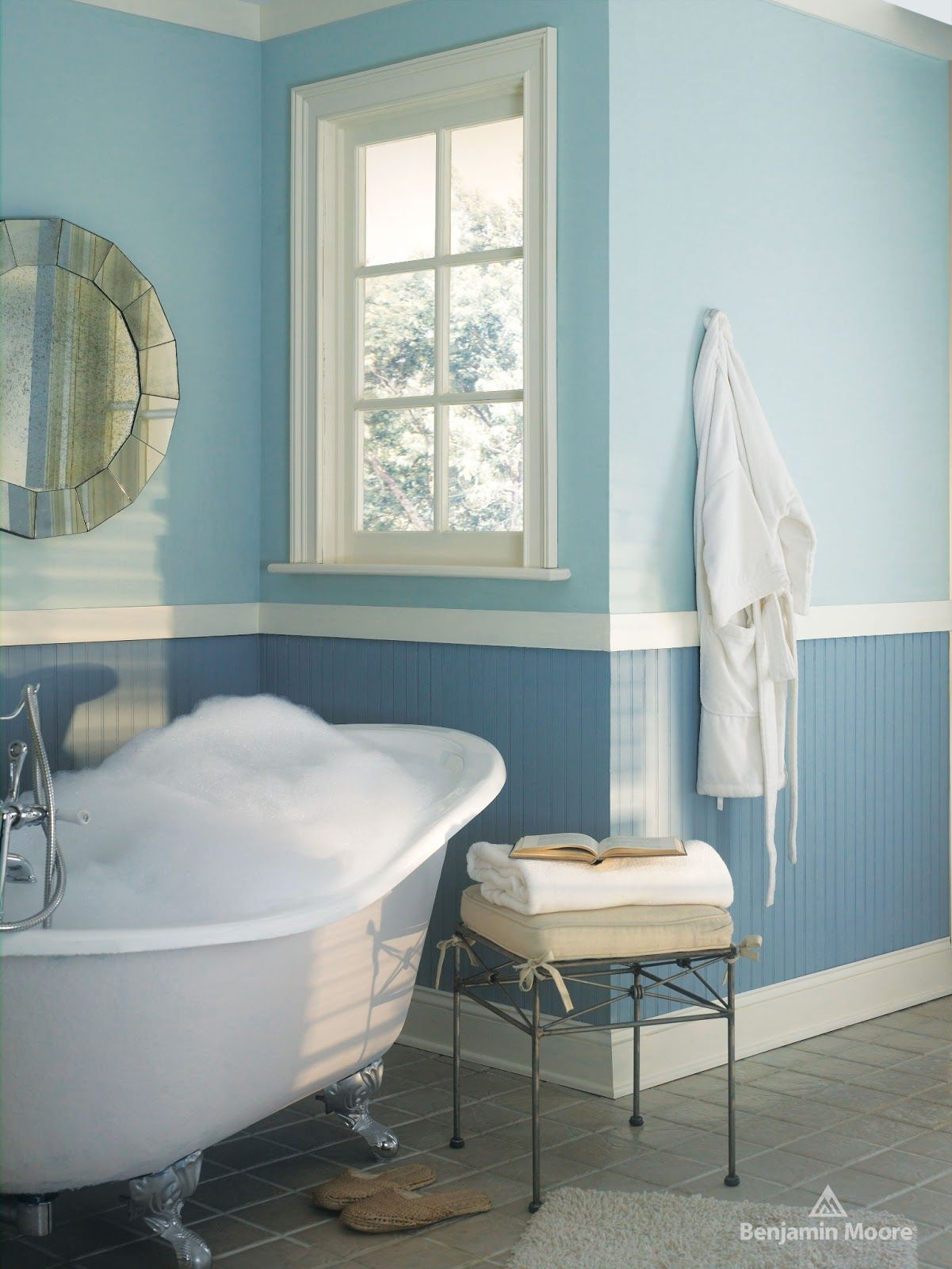 1668 blue stream by Benjamin Moore Blue bathroom