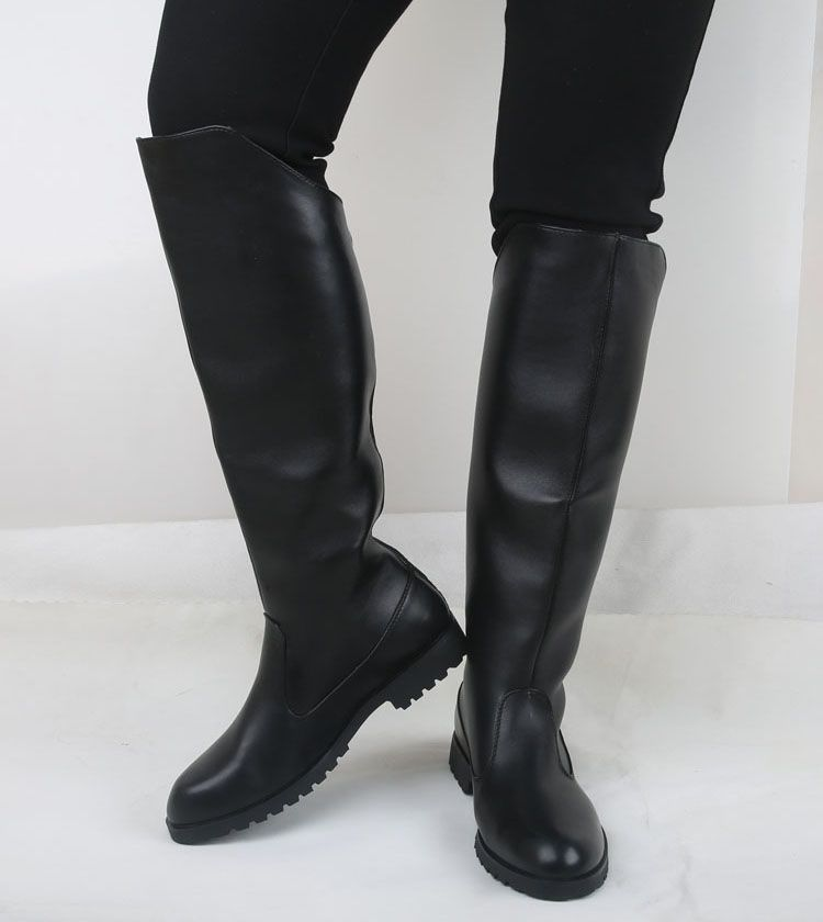 Autumn Winter mens elevator boots tall knee high motorcycle boots ...
