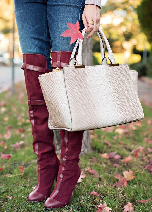 Sydne-Style-over-the-knee-boots-burgundy-henri-bendel-luxe-bag-satchel-snakeskin