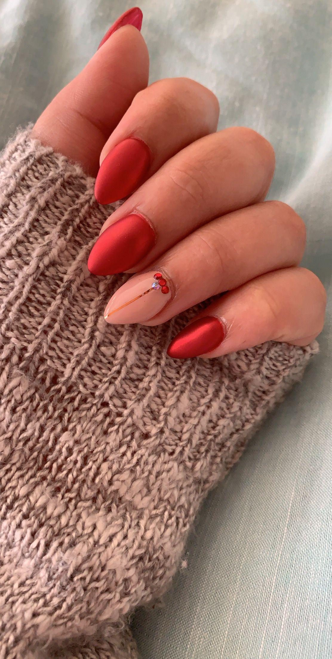 Winter nails 2018 festive red chrome nail art design ...