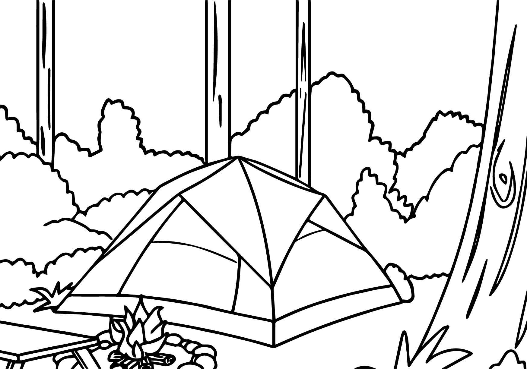 Nice Camping Tent In Forest Coloring Page Camping Coloring Pages