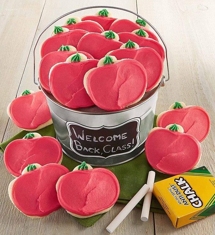 Back to School Apple Cut-out Cookie Pail   Back to School Ideas   Cheryls.com   Send them back to school with a pail of 16 individually wrapped buttercream frosted apple cut-out cookies! Comes complete with a box of chalk to personalize the label!