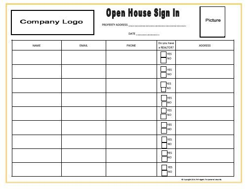 Open house sign in sheet sign in sheet open house signs for Realtor open house sign in sheet template