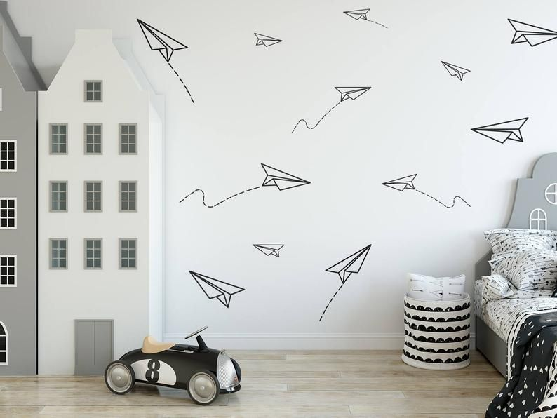 Paper Planes Wall Decal Boys Room Decals Wall Decor Paper Plane Sticker Paper Airplane Kids Room Stickers Nursery Decal 254 Boy Room Wall Decor Vinyl Wall Decals Boys Room Boys Room Decals